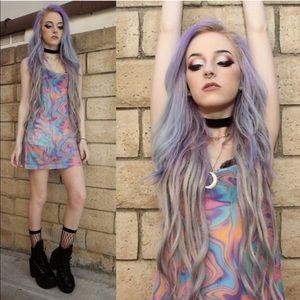 Rare UNIF Sheer Psychedelic Mini Melt Dress S EUC